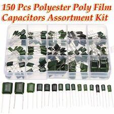 150 Pcs 15 Value Polyester Poly Film Capacitors Assortment Box Kit 0.47nF~470nF