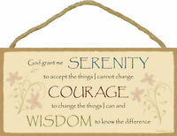 God grant me Serenity Courage Wisdom Inspirational Wood Sign Plaque Made in USA