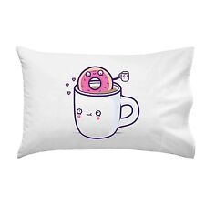 Coffee With Friends Mug & Donut Drink Brew Together Single Pillow Case Soft New