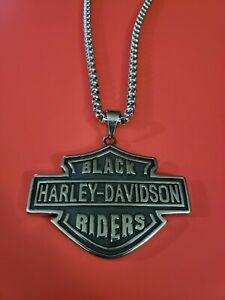 "Biker Jewelry - Black Harley Riders Necklace ""Heavy"""