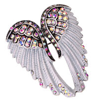 Angel wing brooch pin pendant biker jewelry gift women mom her BD03 gold silver