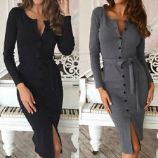 Women Long Sleeve Buttons Down Pencil Dress Evening Party Bandage Midi Dress US