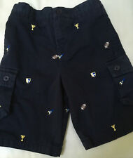 Hartstrings Boys Navy blue cotton embroidered cargo shorts size 3T