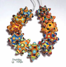 MINI SPIKES Lampwork Beads Handmade Small Tiny Beads Red Yellow Blue Black Orang