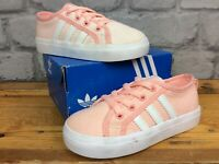 ADIDAS OG UK 7 EU 24 PINK WHITE NIZZA LO TRAINERS GIRLS CHILDRENS  LG