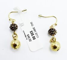 Red Rhinestones by Neiman Marcus #Nm3 New Polished Gold Drop Earrings with Ruby