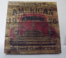 Wooden Rustic Classic Car Sign Wall Art 30 x 30 cm