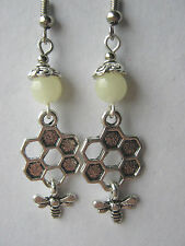 Bees & Honeycomb Earrings Creamy Topaz Gemstone Beads Folklore Hedgewitch
