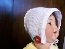 BABY GIRLS BONNET HAT Heirloom Style Crochet Hand Made White Size 6M to 12M