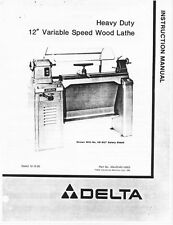 """Delta Rockwell Model 46-412 12"""" Variable Speed Wood Lathe Instructions"""