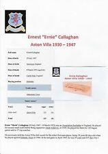 Ernie Callaghan Aston Villa 1930-1947 très rare coupe signé main original