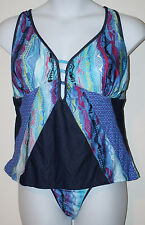 COOGI Blue Green Red Abstract Print 2 Pc Tankini Swimsuit NWT 3X NWT