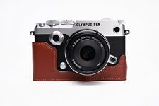 Genuine Real Leather Half Camera Case Bag Cover for Olympus PEN-F PEN F Brown