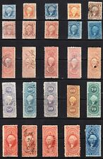 US collection: 25 old 1st issue revenue stamps U/F-VF