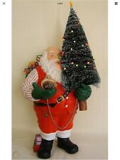 dept 56 Ho Ho Ho Santa Very Rare With Lighted Sisel Tree And Real Pocket Watch