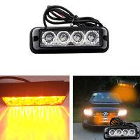 4W High Power 4 LED Amber Waterproof Car Truck Emergency Strobe Flash Light