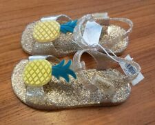 Old Navy Toddler Girls SIZE 7 Gold Sparkle PINEAPPLE Jelly Sandals Shoes #34220