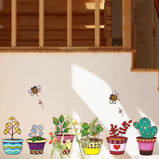 Wandtattoo Wandaufkleber Wandsticker Blumen Kaktus Bine Bunt Deko Wohnzimmer Top