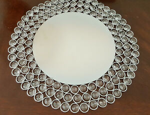 Crystal Silver Charger Plates with Crystal Beads  1 PC USA  Seller