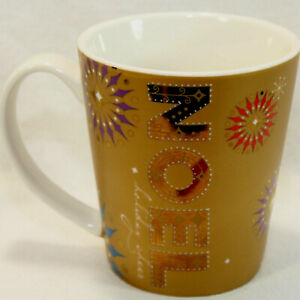Noel Cheer 2006 Gold Christmas Holiday Coffee Mug Cup 14oz Snowflakes