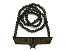 """Good Quality Taylor Gang Star Wood Pendant w/36"""" Wooden Ball Chain Necklace WX29"""