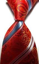 New Paisleys Stripes Red Gold Blue JACQUARD WOVEN 100% Silk Men's Tie Necktie