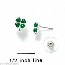 MINI GREEN ENAMEL FOUR LEAF CLOVER  Irish Shamrock Silver Plated Post Earrings