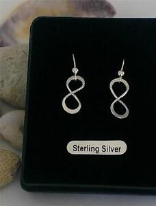 Infinity drop Earrings 925 stamped Sterling Silver Love Eternity gift boxed