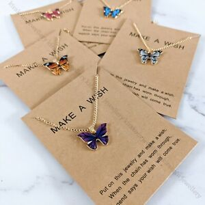 Beautiful Butterfly Friendship Family Love Women Lady Necklace Wish Card Gift UK