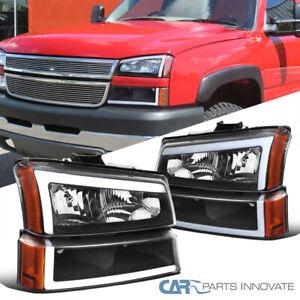 For 03-07 Chevy Silverado Avalanche Matte Black LED Strip Headlights+Bumper Lamp