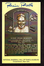 ROBIN ROBERTS SIGNED Hall Fame Plaque HOF Yellow  Postcard Autographed  COA