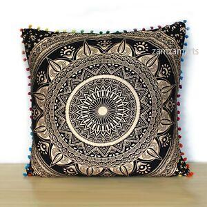 "New 24"" Square Black Gold Large Pillow Case Cover Mandala Cotton Cushion Covers"