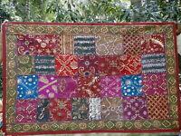 Tapis murale indien Tenture Bordeaux Dessus de table Patchwork Fait main Inde