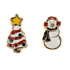 CUTE SNOWMAN & CHRISTMAS TREE EARRINGS Post Stud NEW Gold Plated Enamel Holiday