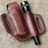 EDC Leather Sheath Multitool Flashlight Belt Camping Outdoor Tools Keyholder