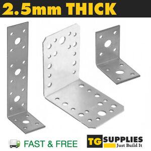 Heavy Duty Galvanised Angle L Shape Bracket Corner Brace Timber 2.5mm THICK