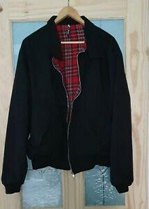 Mens Retro Mod Black Harrington Jacket Coat with Tartan Lining - Size XL