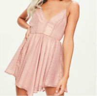 Missguided Pink Dobby Criss Cross Asymmetric Mini Dress UK-8 EU-38 US-6 AUS-8