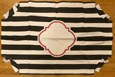 NEW Pottery Barn Teen Scallop Monogram Pinboard Cover BLACK WHITE STRIPE PINK