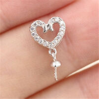 S925 Love Heart CZ Pearl Necklace Mount with Pin Sterling Silver Jewelry #DZ008