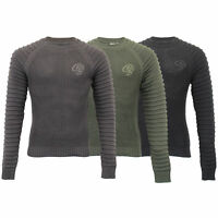 Mens Knitted Jumper Crosshatch Sweater Pullover Top Ribbed NETHERBIE Winter New