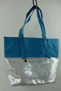 "CHI Tote Sequin Hand Bag Purse Blue 15"" x 12"""