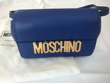 Moschino Couture Jeremy Scott BLUE Calf LEATHER Gold Letters Logo Crossbody Bag