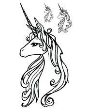 Místico Unicornio Kawaii arte corporal A prueba de agua Tatuaje Pegatinas Extraíble Blanco y Negro