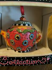 Vintage Mary Engelbreit Mini Teapot Ornament Red/Yellow Stars