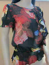 TED BAKER ~Rose Floral~ Top UK 10 2 Party Wedding Holiday Black Red Oil Painting