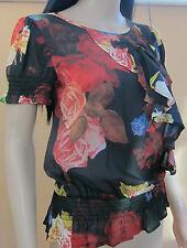 TED BAKER ~ Rosa Floreale ~ Top UK 10 2 Festa Matrimonio Festa Nero Rosso dipinto ad olio