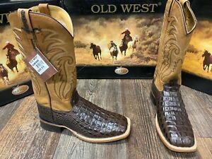 Men's genuine cowhide alligator print square toe boot by Old West. Brown/Black