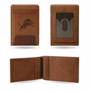 Detroit Lions Embossed Premium Brown Leather Front Pocket Money Clip Wallet