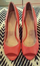 WITCHERY Coral Pink Leather Open Toe Wedges Cork Size  EU 36